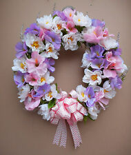 "18"" Pastel Pink Purple Floral Spring Summer Door Grapevine Wreath Handmade"