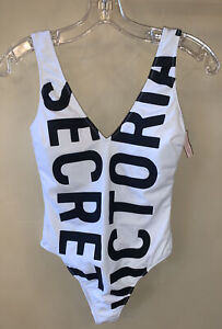 Victoria's Secret Black White One Piece Swimsuit Extra Small XS Free Ship NWT