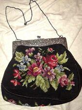 Vintage Silver 835, Needlepoint/Tapestry Floral Carpetbag/Handbag