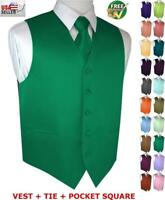 Men's Satin Formal Tuxedo Vest, Tie & Hankie Set. Wedding, Prom, Cruise, Dress