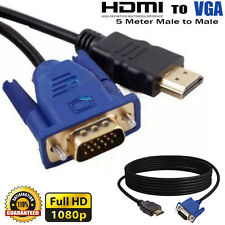 5M HDMI Male to VGA Male Video Converter Adapter Cable For DVD 1080P HDTV PC