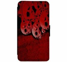 Red Skulls Gothic Emo Goth art Leather Flip Phone Case for iPhone & Samsung D15