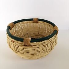 Vintage wicker boho rattan basket round green