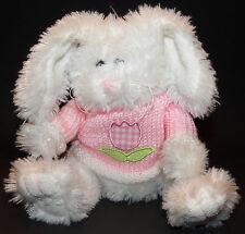 "Animal Adventure White Easter Bunny Rabbit Plush 9"" Stuffed Pink Sweater Basket"