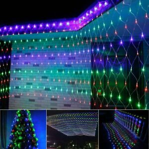 4 Colours LED Net Lights String Fairy Window Curtain Wedding Party Xmas TIMER