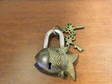 "VINTAGE ANTIQUE STYLE NEPAL FISH LOCK Older Style Padlock With 2 Keys- 3"" X 4"""