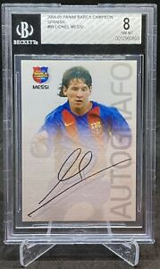 LIONEL MESSI 2004 Panini Barca Campeon Rookie RC Card Soccer BARCELONA #89 BGS 8