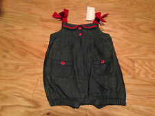 NWT Gymboree Sailor Baby Chambray Denim Romper One Piece Outfit 3 6 Months