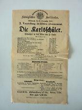 """KGL. HOFTHEATER DRESDEN-NEUSTADT """"DIE KARLSSCHÜLER"""" > Stuttgart * Programm 1891"""
