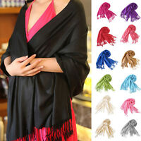 Women's Long Soft Cashmere Scarf Wrap Large Winter Shawl Solid Scarves Pashmina