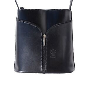 TJS Genuine Leather Crossbody Handbag Handmade in Italy Florence Black