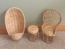 Vintage Rattan Wicker Doll Furniture Lot-Peacock Fan Chair, Table, Egg Chair