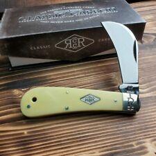 Rough Rider Hawkbill Carbon Steel Yellow Handle Folding Pocket Knife RR1734