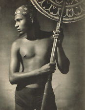 1940s Vintage Lionel Wendt Sunshade Bearer Male Semi Nude Photo Gravure Print