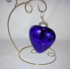 Antique German Deep Cobalt Blue Glass Kugel Heart Ornament no cracks 8 oz. 4 x 5