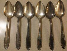 Vintage Wm Rogers Mfg. Co. AA Teaspoon Dinner Spoon Flower Silverplate Set of 3