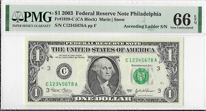 PMG 66EPQ 2003 $1 FRN Ascending Serial Number C12345678A