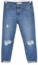 Topshop Skinny Boyfriend LUCAS Blue RIPPED Frayed Crop Jeans Size 8 W26 L32