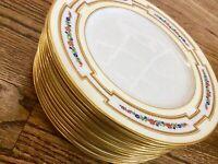 """VTG Spaulding England enamel floral 12 dinner Plates 10.25"""" Gold red blue green"""