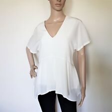 SPORTMAX by MAX MARA, Ivory Silk Top Blouse, Size L