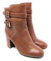 Nine West Womens NoGettuff Cognac Leather Ankle Boots Size 10m Euc