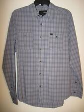 Hurley Men's Long Sleeve Shirt NWT Blue Plaid S 100% Cotton