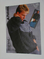 "Knitting Pattern Patons Chunky Men's Sweater with shoulder buttons 34-44"" C8468"