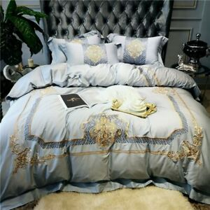 Luxury Gray Egyptian Cotton Gold Royal Palace Bedding Set Duvet Cover Bed Sheet