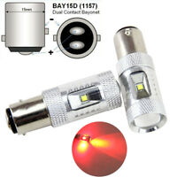 2x Pure Red 1157 BAY15D High Power 30W LED Tail Brake Stop Light Bulbs 12V-24V