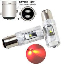 2x Pure Red 1157 BAY15D High Power 30W LED Tail Brake Stop Light Bulbs 12V-24V