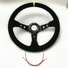 350mm Deep Dish Aftermarket Steering Wheel Drifting Rally Black Stitching Suede