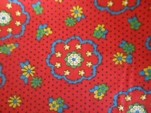 Vintage 60's 70's Cotton Fabric  FLORAL Flowers  ON RED Springs 44 x 82