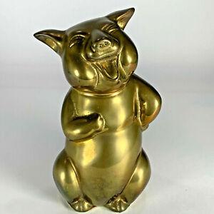 "Vintage Brass Golden Pig Happy Face Figurine Statue Decoration Paper Weight 6"""