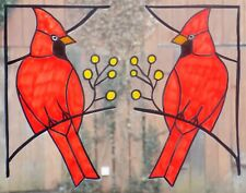 WICOART WINDOW COLOR STICKER CLING FAUX STAINED GLASS ART LOT 2 CORNERS CARDINAL