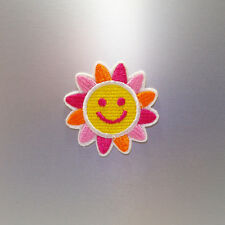 Happy Sunflower Patch — Iron On Badge Embroidered Motif — Face Smiley Flower