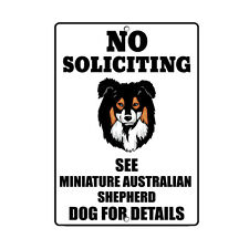 Miniature Australian Shepherd Dog No Soliciting See Novelty Metal Sign