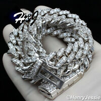 "18""-24""MEN 14K WHITE GOLD FINISH 12MM PRONG SET CUBAN CURB CHAIN NECKLACE*BN5"