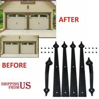 Garage Door Decorative Hardware Kit Hinges & Handles Black Carriage Decor+Screws