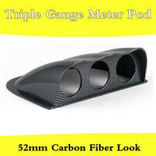 Universal 3 Hole Triple Gauge Meter Holder Car Dash Pod 52mm Carbon Fiber Look