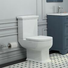 Traditional close coupled open D end Melissa WC toilet pan with cistern and seat