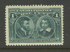 Canada # 97, 1908 1c Cartier & Champlain - Quebec Tercentenary, Unused NH