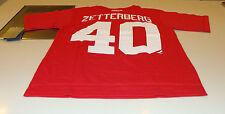 Detroit Red Wings Henrik Zetterberg L Reebok Nome Número Logo T Camisa Hóquei