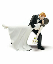 Romantic Dip Dancing Bride Groom Couple Porcelain Wedding Cake Topper