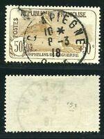 "FRANCE N° 153  "" ORPHELINS  50c + 50c,  LION DE BELFORT  ""  OBLITERES  TTB"