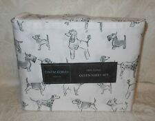 Cynthia Rowley 100% Cotton Sheet Set Queen Sketched Art Dogs New Free Shipping