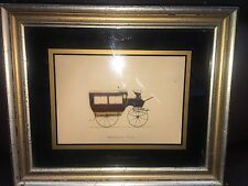 HORSE-DRAWN CARRIAGE DRAWING PRINT OMNIBUS #104 in Wood FRAME RARE Vintage ART