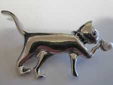 with Faux Pearl Brooch Pin Silver tone Adorable Kitty Cat Playing