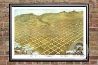 Vintage Salt Lake City, UT Map 1870 - Historic Utah Art Old Victorian Industrial