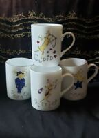 Pottery Barn Christmas Reindeer Mugs Set of 4 Comet Cupid Donner Blitzn New Cond