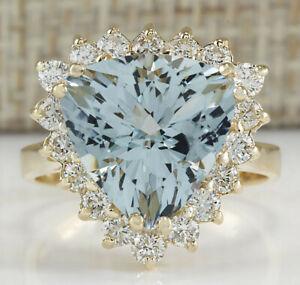 5.71 Carat Genuine Aquamarine 14K Solid Yellow Gold Luxury Diamond Ring